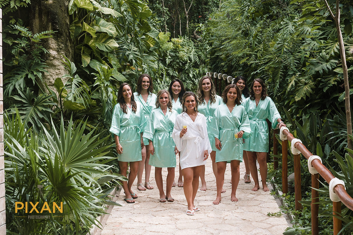 Hotel-Xcaret-Mexico-Wedding-Getting-Ready-bridesmaids