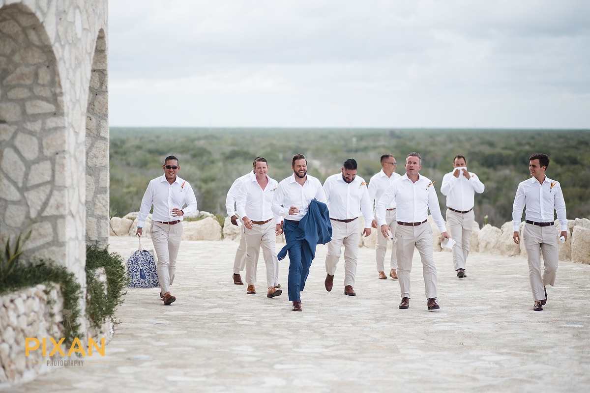 Hotel-Xcaret-Mexico-Wedding-groom-with-priest