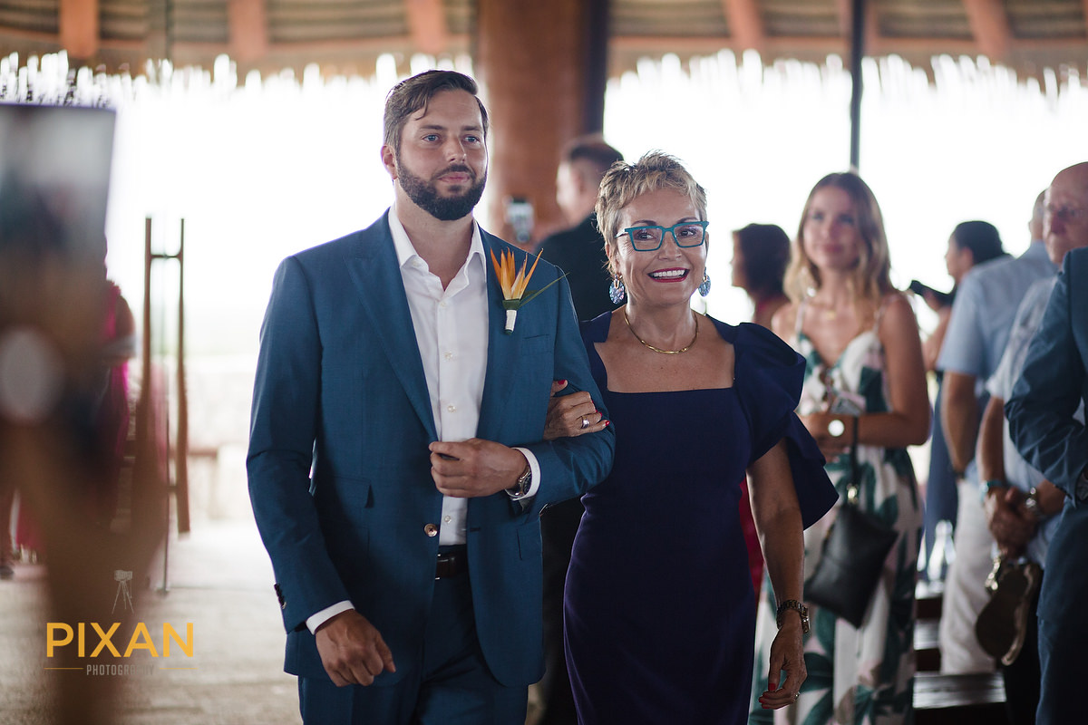 Hotel-Xcaret-Mexico-Wedding-Groom-with-mom