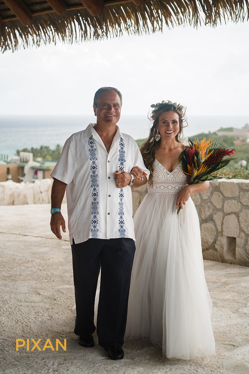 Hotel-Xcaret-Mexico-Wedding-bride-with-dad