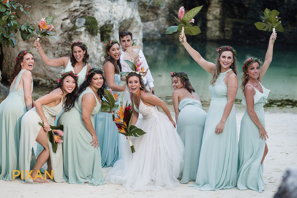 Hotel-Xcaret-Mexico-Wedding-bridal-party-fun