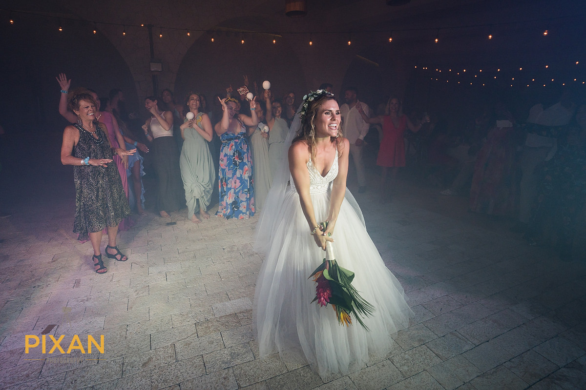 Hotel-Xcaret-Mexico-Wedding-flower-toss