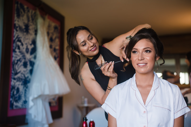 Hotel Xcaret Mexico Indian Mixed Destination Wedding getting ready bride makeup