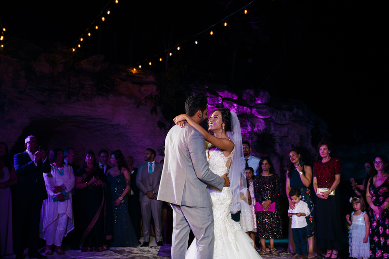 Hotel Xcaret Mexico Indian Mixed Destination Wedding Christian Wedding 1st dance