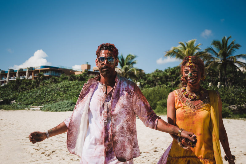 Hotel Xcaret Mexico Indian Mixed Destination Wedding Batna and Maigaan colorful mess bride and groom
