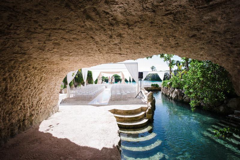 Hotel Xcaret Mexico Indian Mixed Destination Wedding hindu ceremony setup at Caleta Fuego