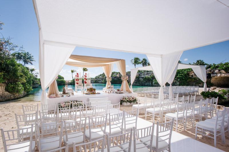 Hotel Xcaret Mexico Indian Mixed Destination Wedding hindu ceremony setup at Caleta Fuego2