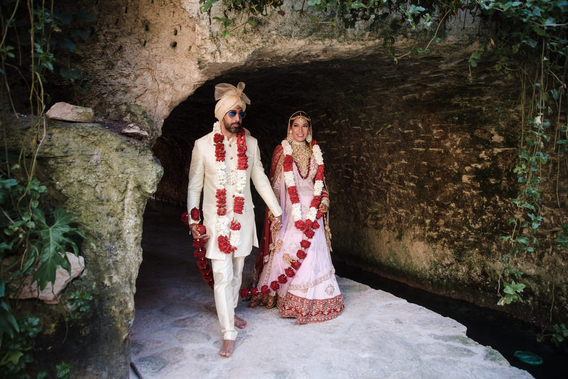 Hotel Xcaret Mexico Indian Mixed Destination Wedding Hindu Ceremony bride and groom