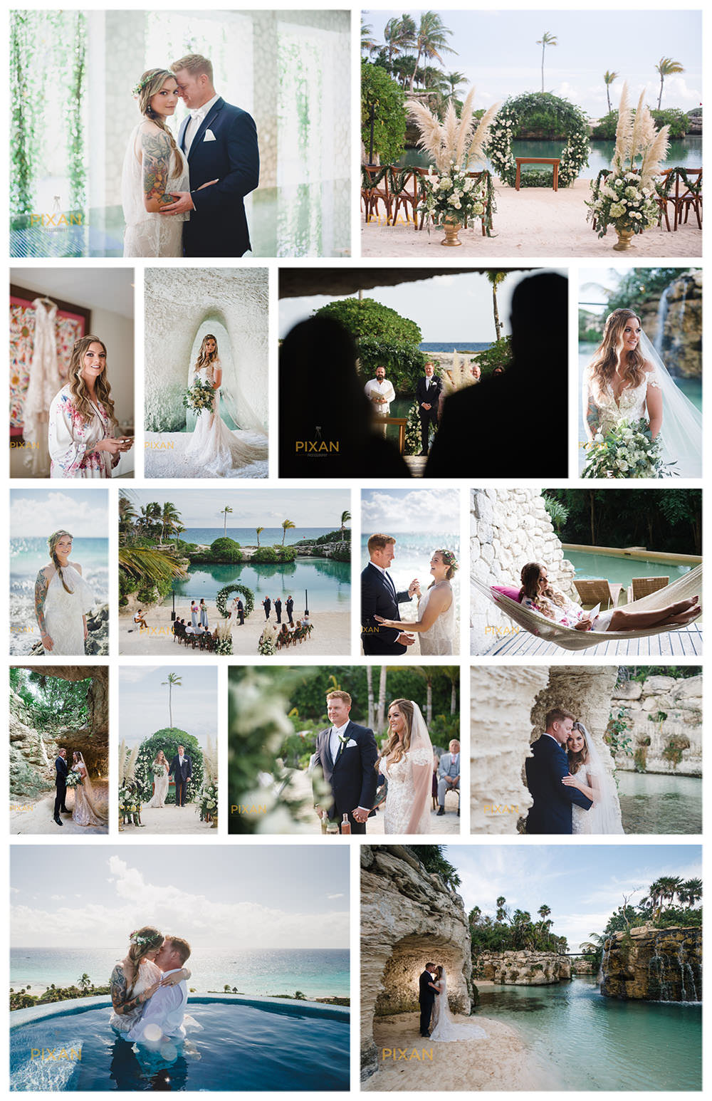 Caleta-Fuego-Collage-Wedding-Hotel-Xcaret-Mexico