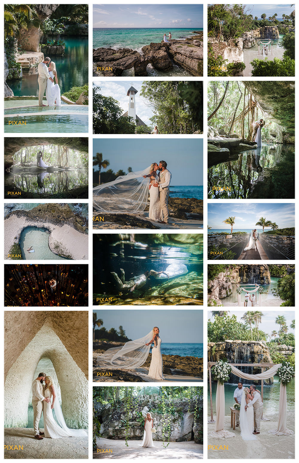 Real-Wedding-Collage-Cuevitas-Bar-Cuevitas-hotel-xcaret