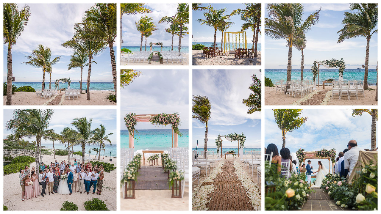 hotel-xcaret-mexico-beach-wedding-ceremony-location-collage