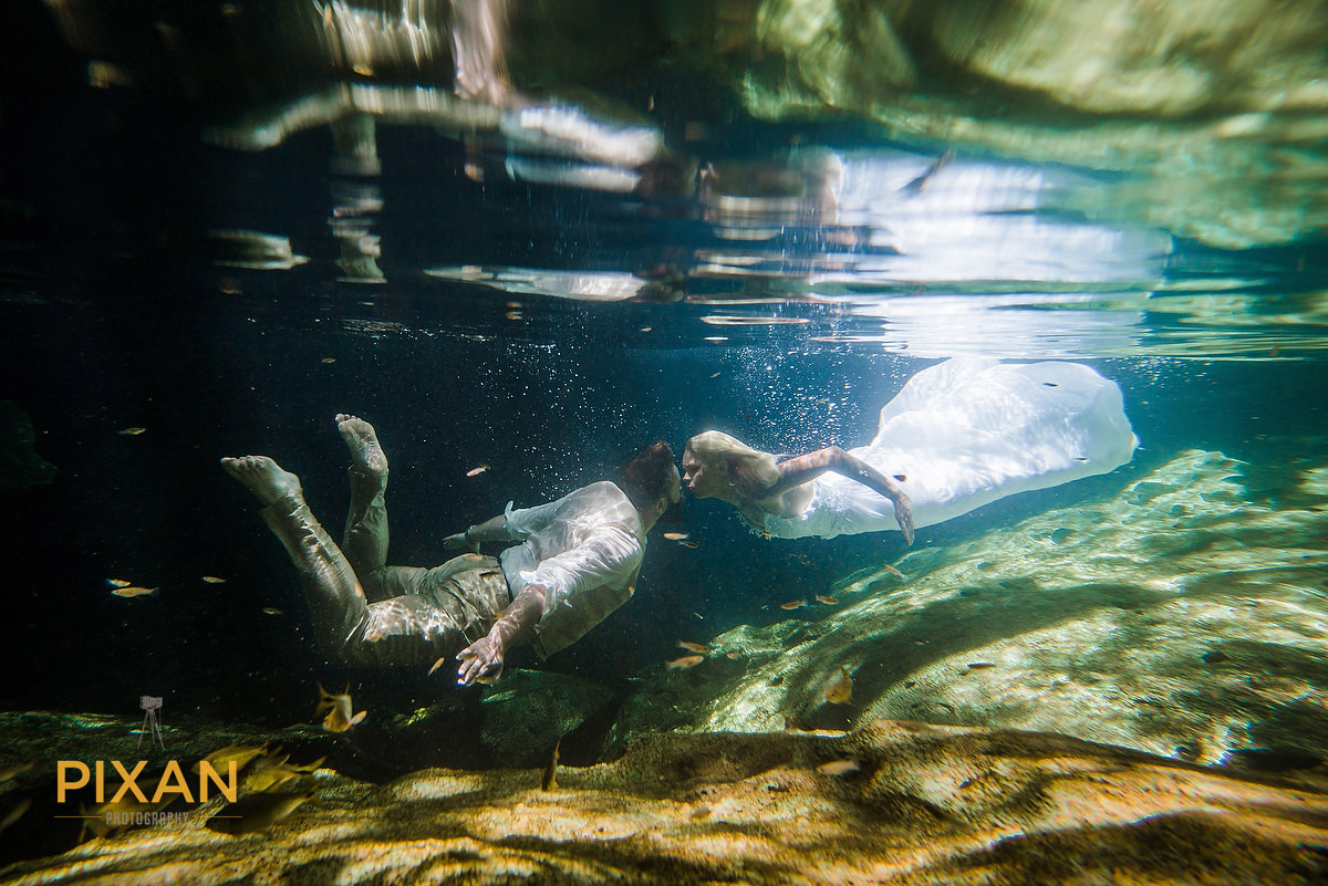 cenote underwater kiss trash the dress