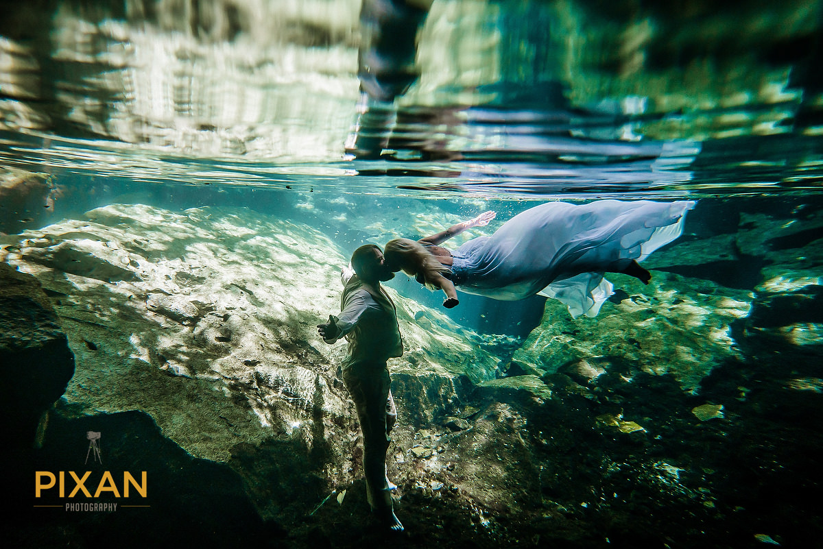 cenote underwater trash the dress kiss