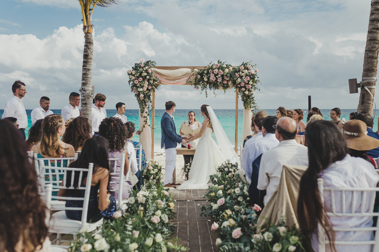 Wedding ceremony on the beach at Hotel Xcaret Mexico
