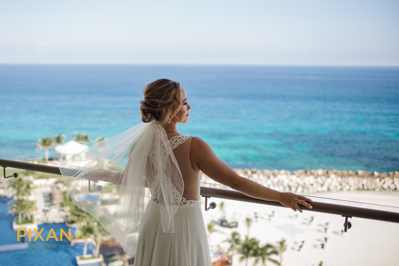 bride in a room with a view