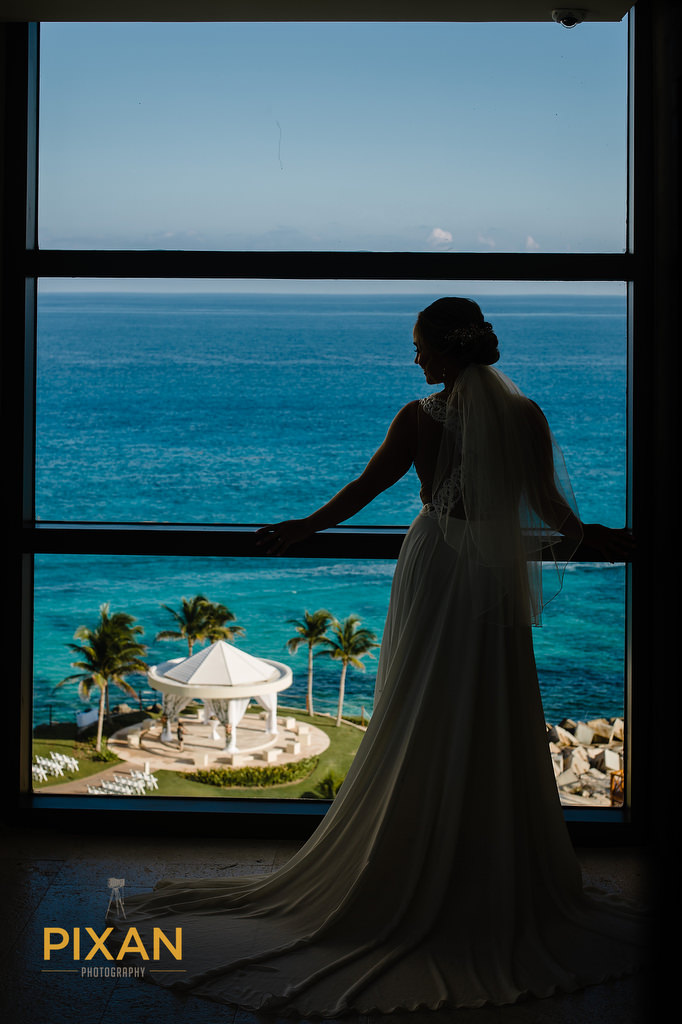 bride with wedding gazebo view