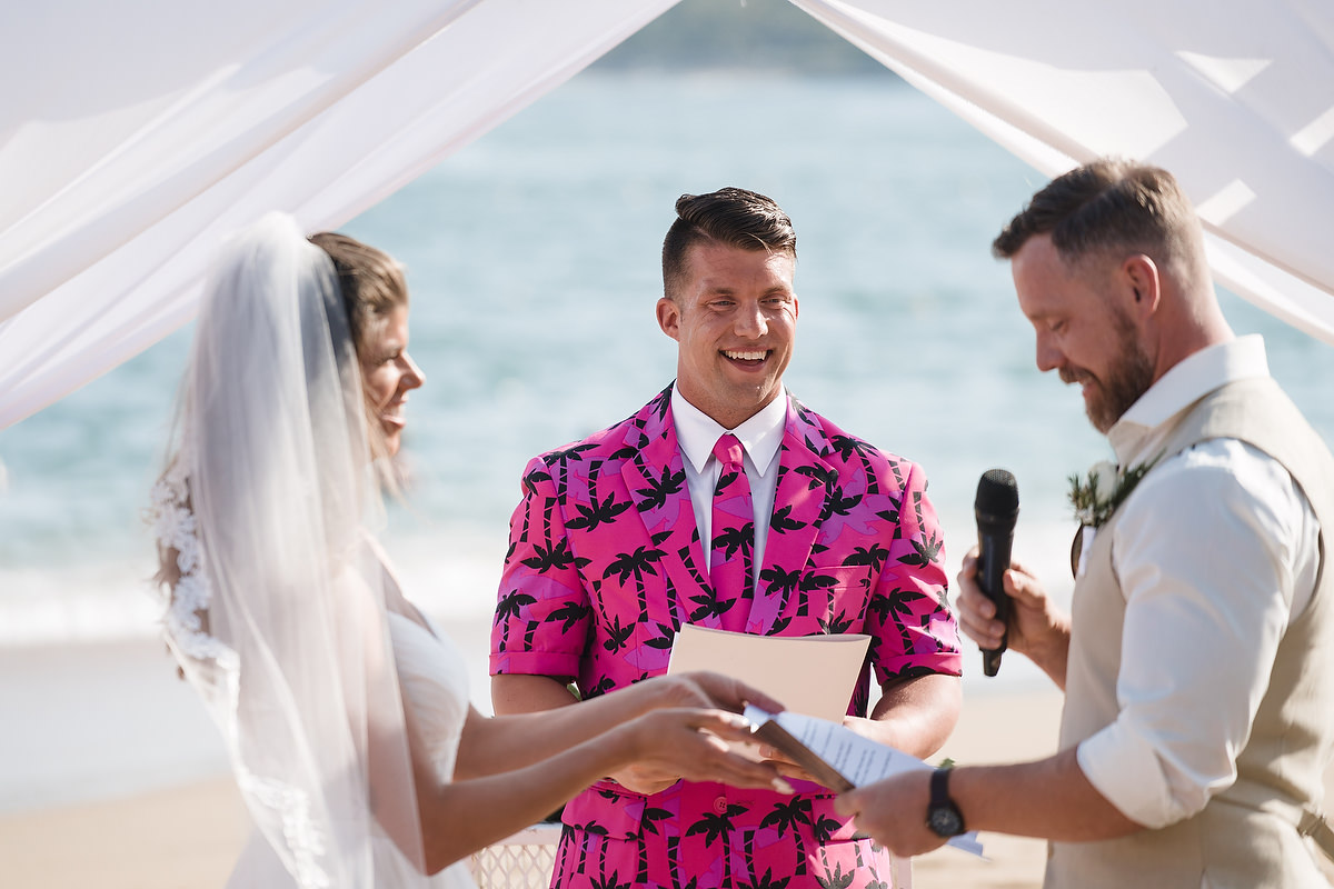 Alicia and Sean's colorful friend was their officiant