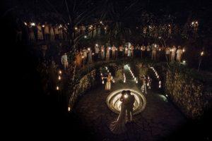Caracol de la Isle romantic entry with sparklers