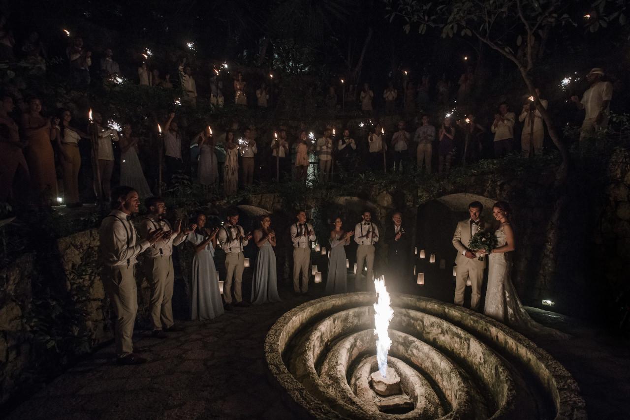 Xcaret Wedding Caracol de la Isla Mayan Ceremony couple enter the caves