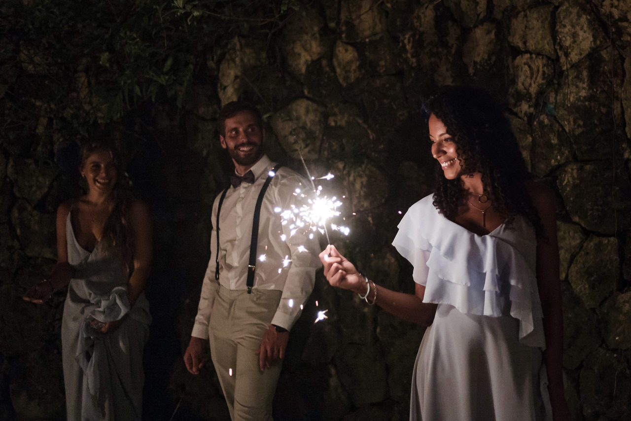 wedding guest with sparklers
