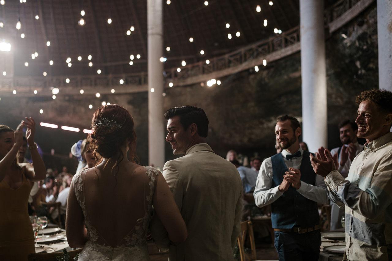 Xcaret Park La Isla Wedding Venue bride and groom entrance guests applause