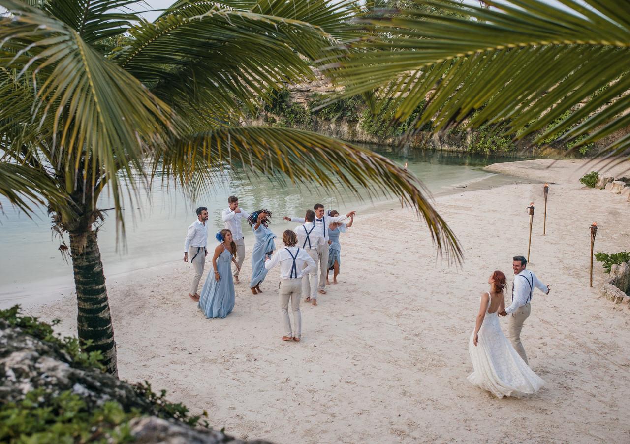beach fun dance bridal party